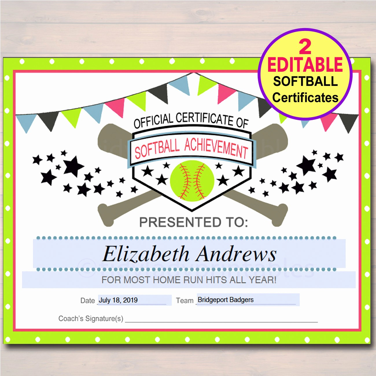 Free softball Certificates to Print Unique Editable softball Certificates Instant Download softball