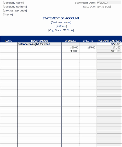 Free Statement Of Accounts Template Awesome Statement Account Statements Templates