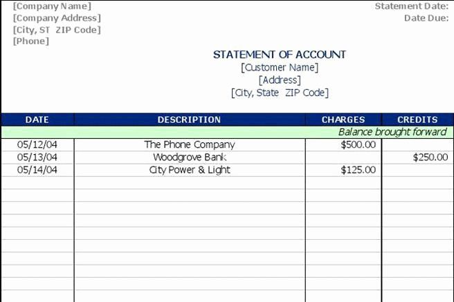 Free Statement Of Accounts Template Fresh 3 Statement Of Account Template Free Download