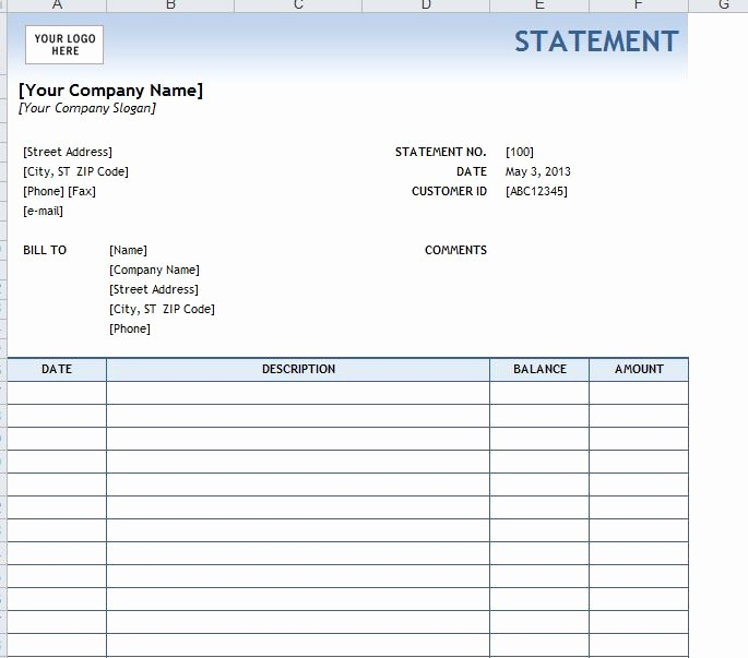 Free Statement Of Accounts Template Fresh Billing Statement Template