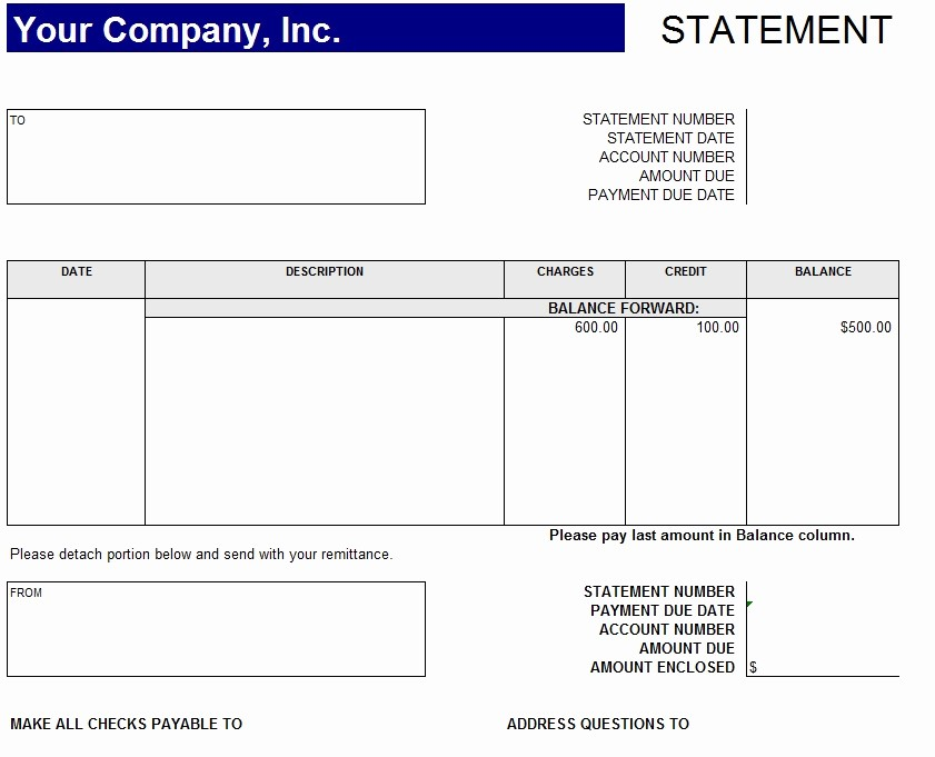 Free Statement Of Accounts Template Fresh