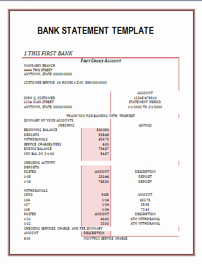 Free Statement Of Accounts Template Inspirational Printable Bank Statement format