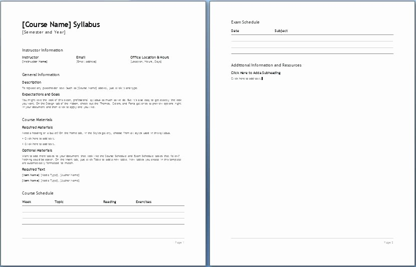 Free Syllabus Template for Teachers Awesome High School Syllabus Template Word Wonderful College