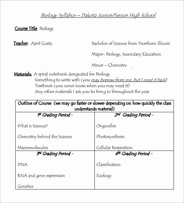 Free Syllabus Template for Teachers Best Of Sample Syllabus Template 8 Free Documents Download In Pdf