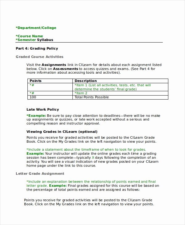 Free Syllabus Template for Teachers Best Of Syllabus Template 7 Free Word Documents Download