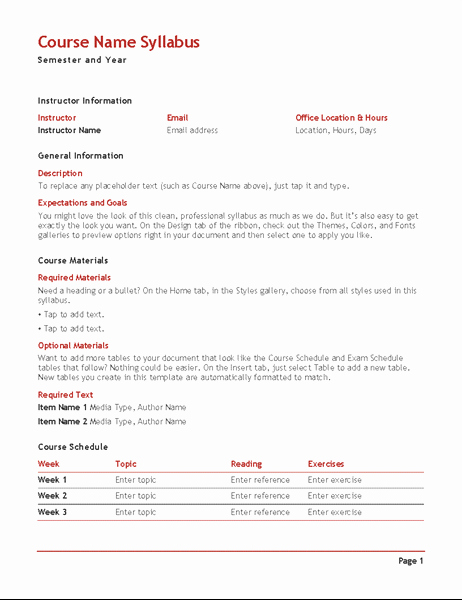 Free Syllabus Template for Teachers Best Of Teacher S Syllabus Color Fice Templates
