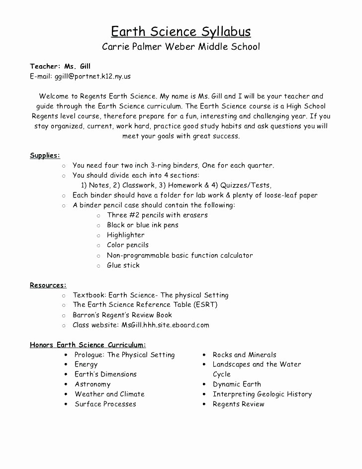 Free Syllabus Template for Teachers Fresh Art Class Curriculum Template Free Course Syllabus In Word