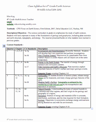 Free Syllabus Template for Teachers Fresh Back to School Middle School Syllabus Template Good