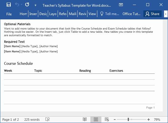 Free Syllabus Template for Teachers Luxury Teacher S Syllabus Template for Word