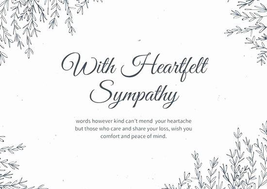 Free Sympathy Cards to Print Elegant Condolences Card Printable Sympathy Template Free