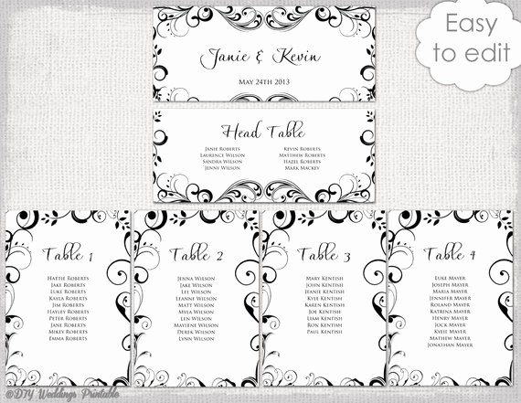 Free Table Seating Chart Template Awesome Wedding Seating Chart Template Black and White