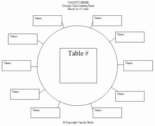 Free Table Seating Chart Template Elegant Circular Table Chart for 10 Guests