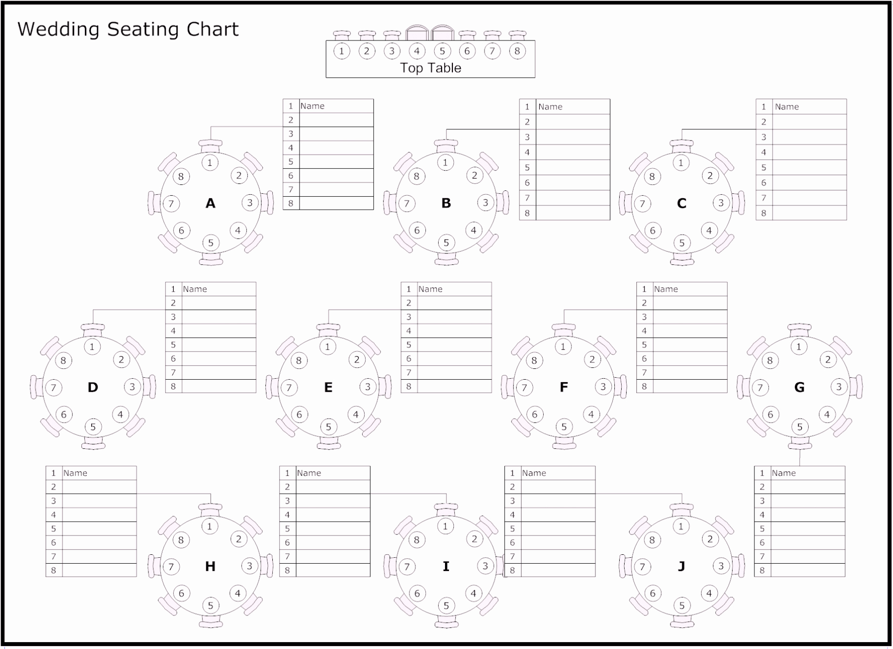 Free Table Seating Chart Template Lovely Free Table Of Reception & Wedding Seating Chart Template