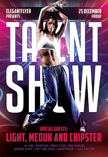 Free Talent Show Flyer Template Beautiful Talent Show – Free Flyer Psd Template – by Elegantflyer