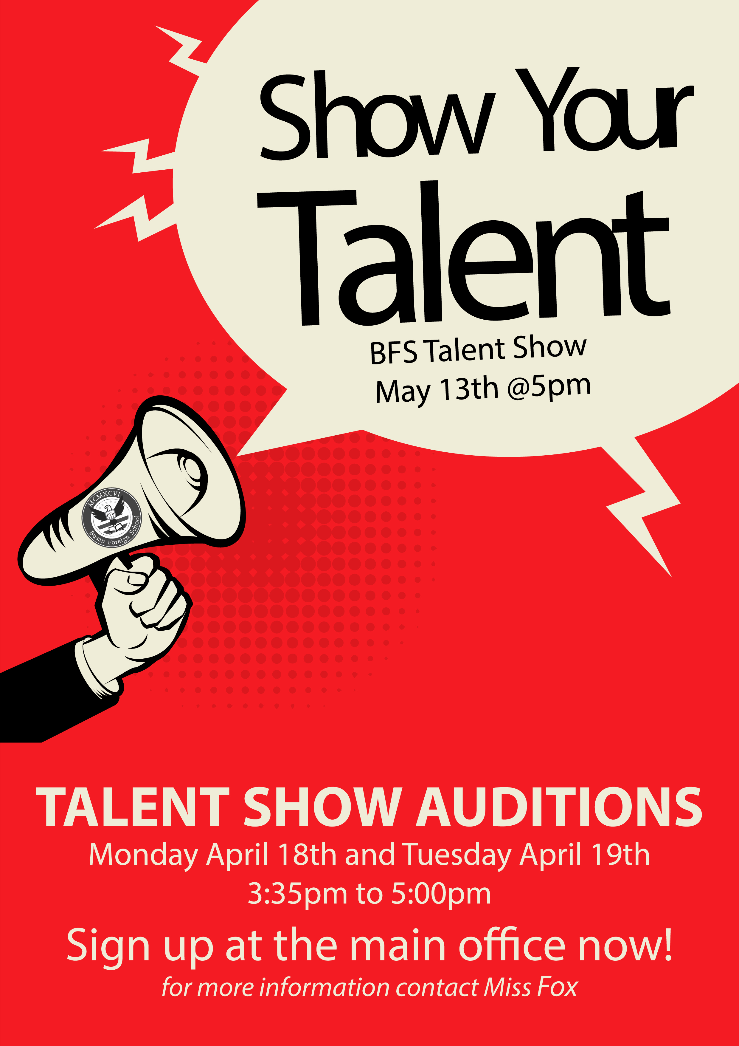 Free Talent Show Flyer Template Inspirational Talent Show Audition – Busan foreign School