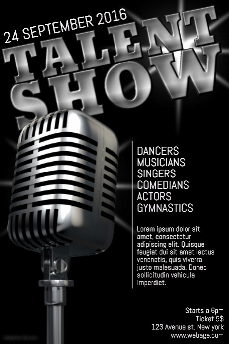 Free Talent Show Flyer Templates Awesome Talent Show Poster Flyer Template