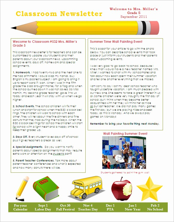 Free Teacher Newsletter Templates Word Beautiful 27 Microsoft Newsletter Templates Doc Pdf Psd Ai