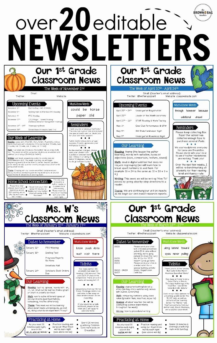 Free Teacher Newsletter Templates Word Beautiful Editable Newsletter Templates Back to School