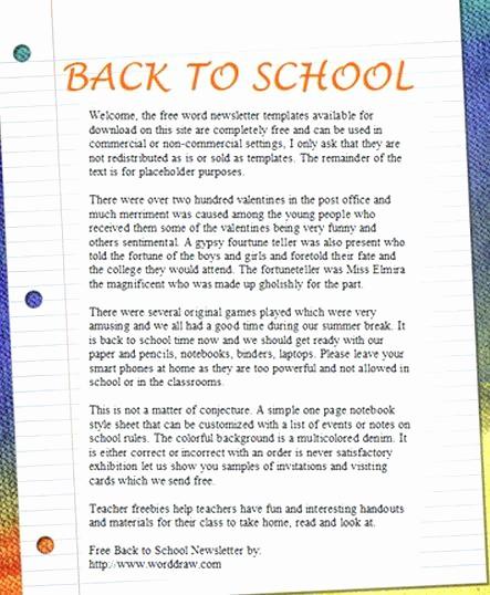 Free Teacher Newsletter Templates Word Best Of Free Classroom Newsletter Templates Template 9 Word