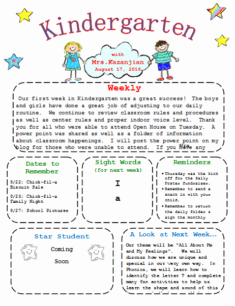 Free Teacher Newsletter Templates Word Best Of Kindergarten Newsletter Template 3 Free Newsletters