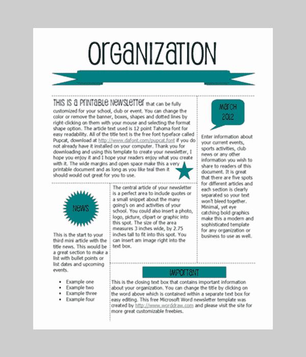 Free Teacher Newsletter Templates Word Elegant Word Newsletter Template – 31 Free Printable Microsoft