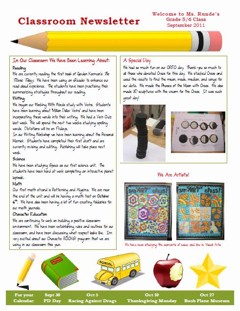 Free Teacher Newsletter Templates Word Fresh Runde S Room My New Classroom Newsletter