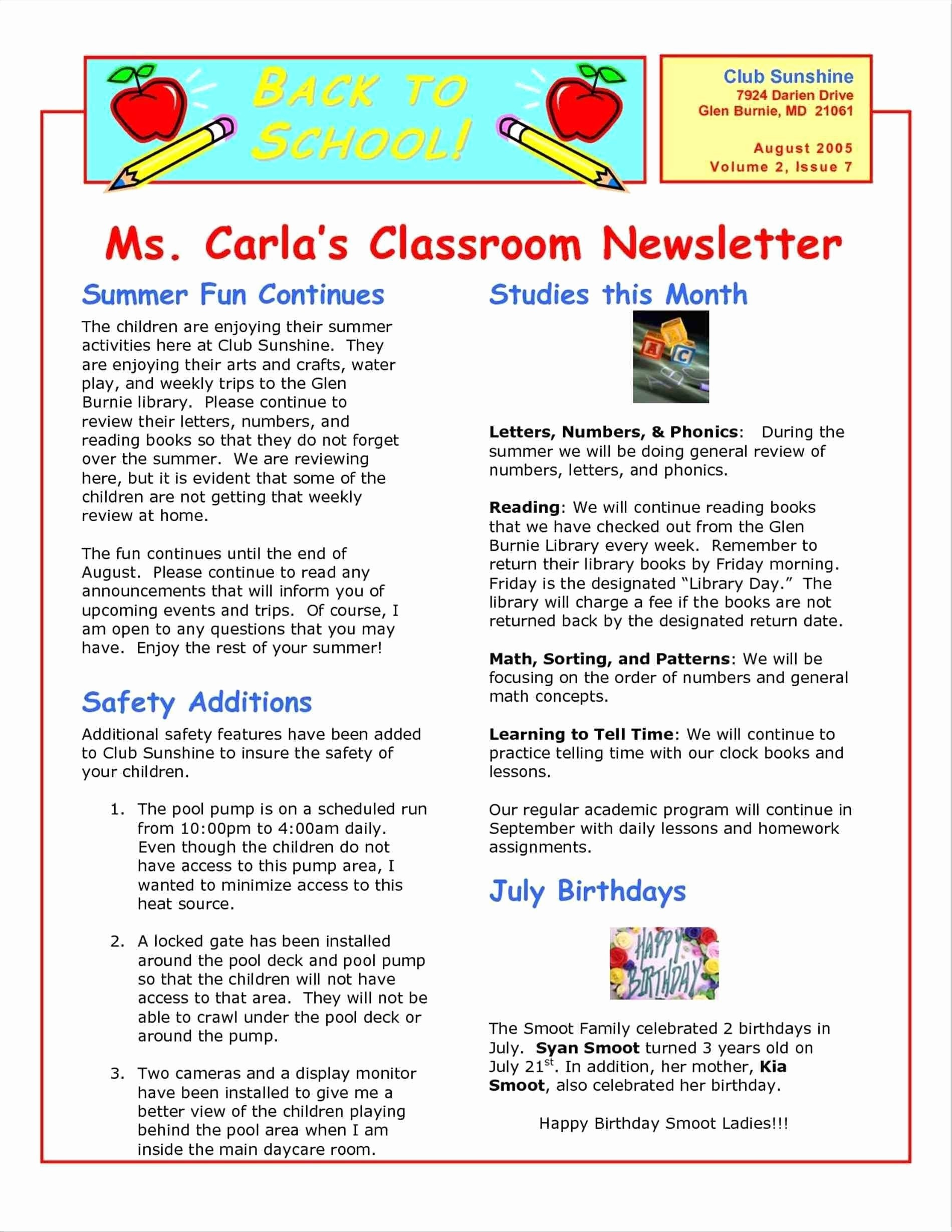 Free Teacher Newsletter Templates Word Fresh Valid Sports Club Newsletter Template Word