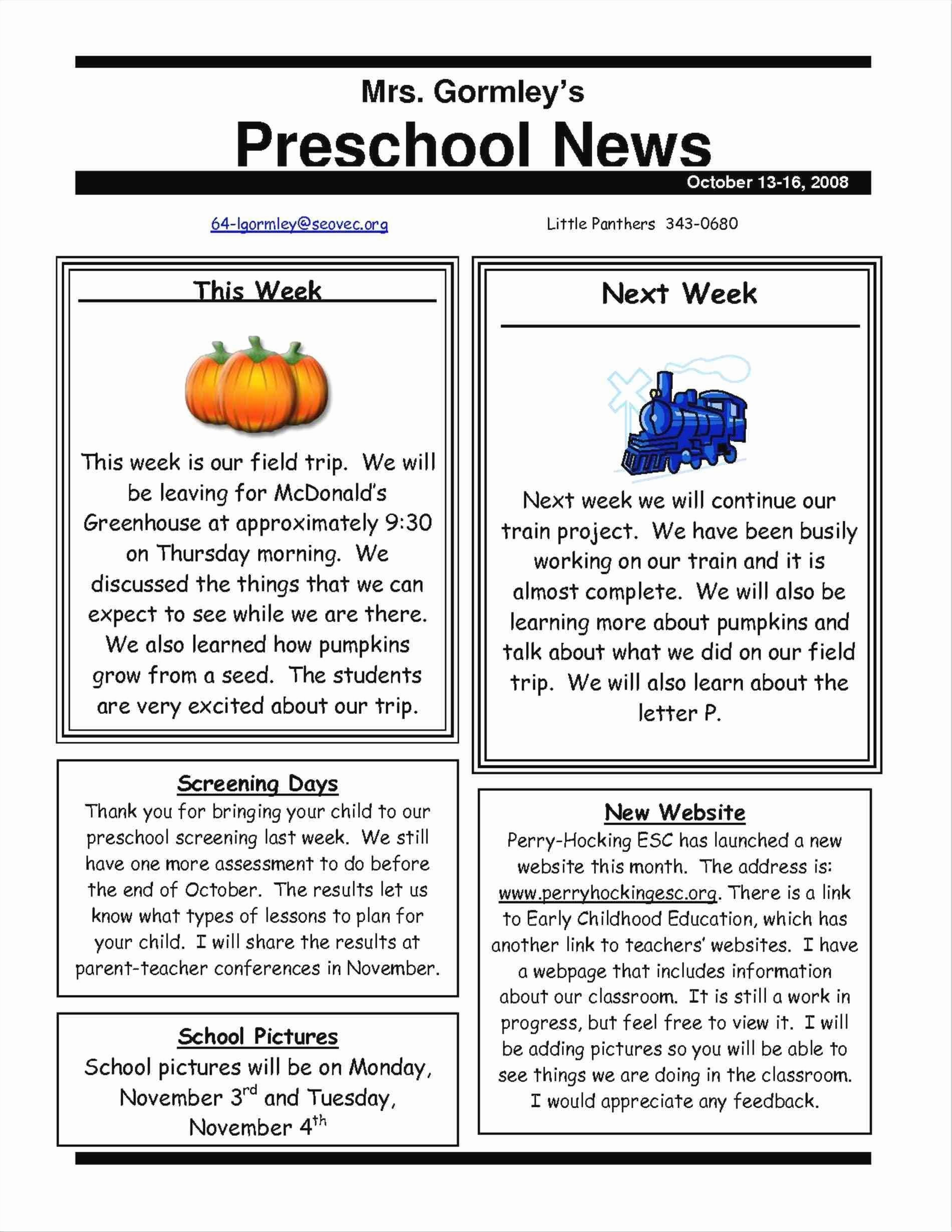 Free Teacher Newsletter Templates Word Inspirational Elegant Free Editable Newsletter Templates for Preschool