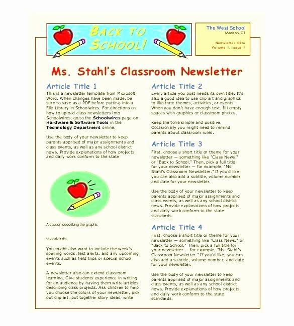 Free Teacher Newsletter Templates Word Lovely Free Classroom Newsletter Templates Template 9 Word
