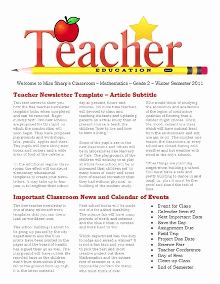 Free Teacher Newsletter Templates Word Luxury 15 Free Microsoft Word Newsletter Templates for Teachers