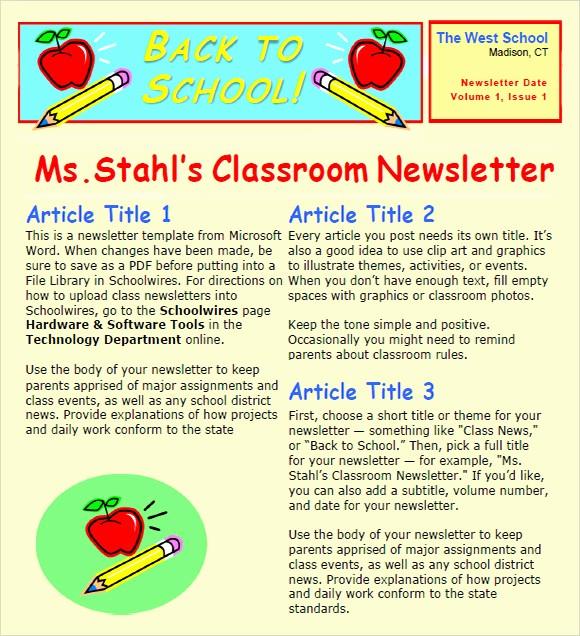 Free Teacher Newsletter Templates Word New Classroom Newsletter Template 7 Free Download for Pdf