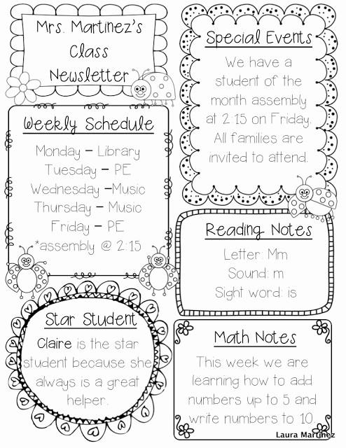 Free Teacher Newsletter Templates Word New Teacher Laura Editable Class Newsletter Template
