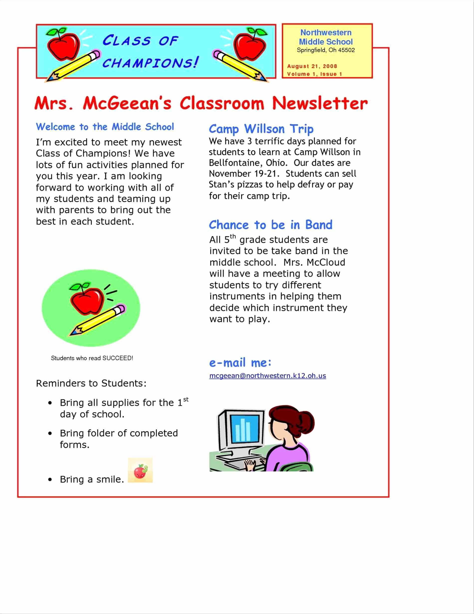 Free Teacher Newsletter Templates Word Unique Free Teacher Newsletter Templates