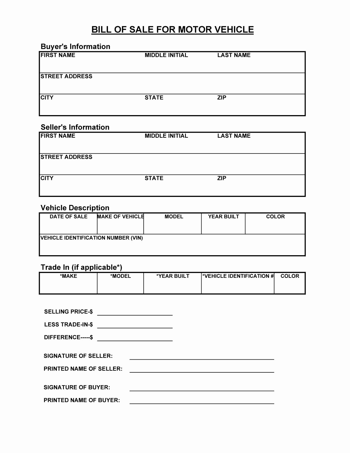 Free Template Bill Of Sale Best Of 45 Fee Printable Bill Of Sale Templates Car Boat Gun