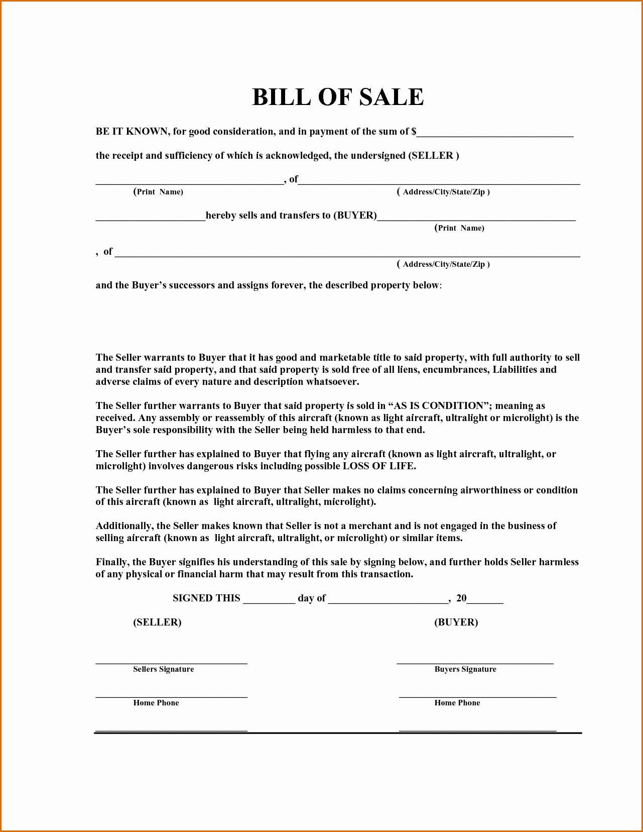 Free Template Bill Of Sale Luxury 7 Bill Of Sale Template Word