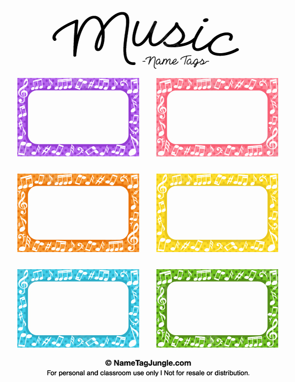 Free Template for Name Tags Beautiful Printable Music Name Tags
