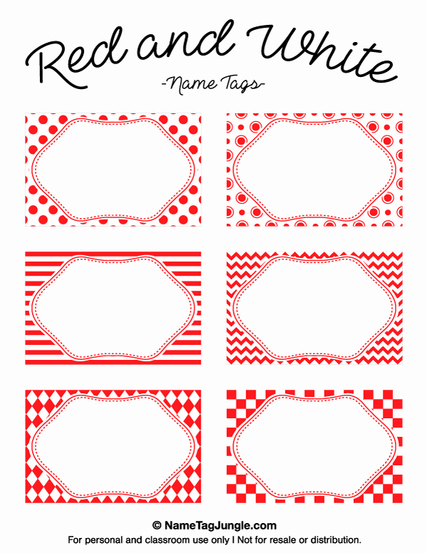 Free Template for Name Tags Elegant Printable Red and White Name Tags