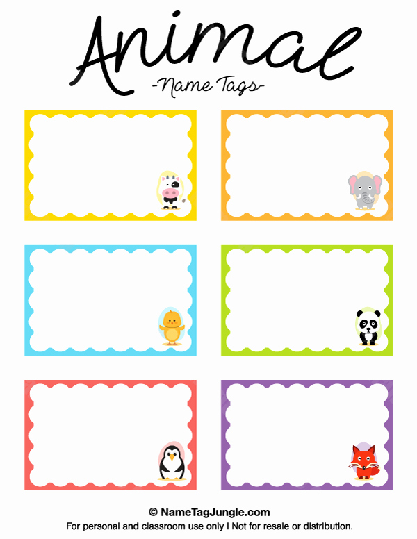 Free Template for Name Tags Fresh Printable Animal Name Tags