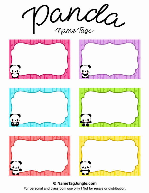 Free Template for Name Tags Fresh Printable Panda Name Tags