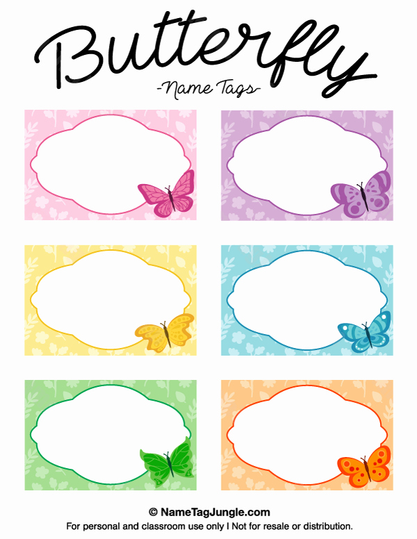 Free Template for Name Tags Inspirational Printable butterfly Name Tags