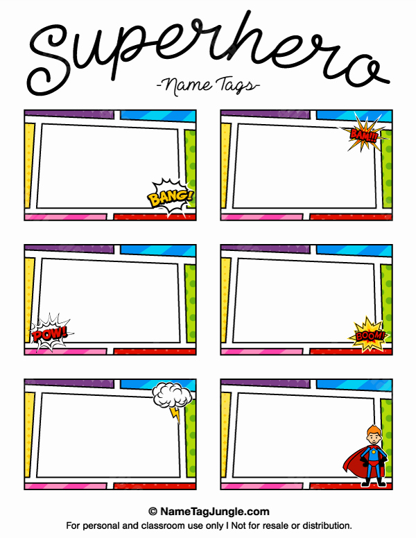 Free Template for Name Tags Lovely Printable Superhero Name Tags