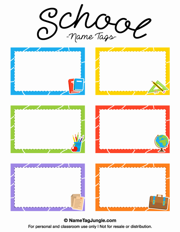 Free Template for Name Tags Luxury Printable School Name Tags