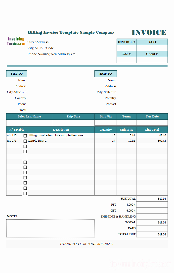 Free Templates for Billing Invoices Awesome Free Invoice Templates for Excel