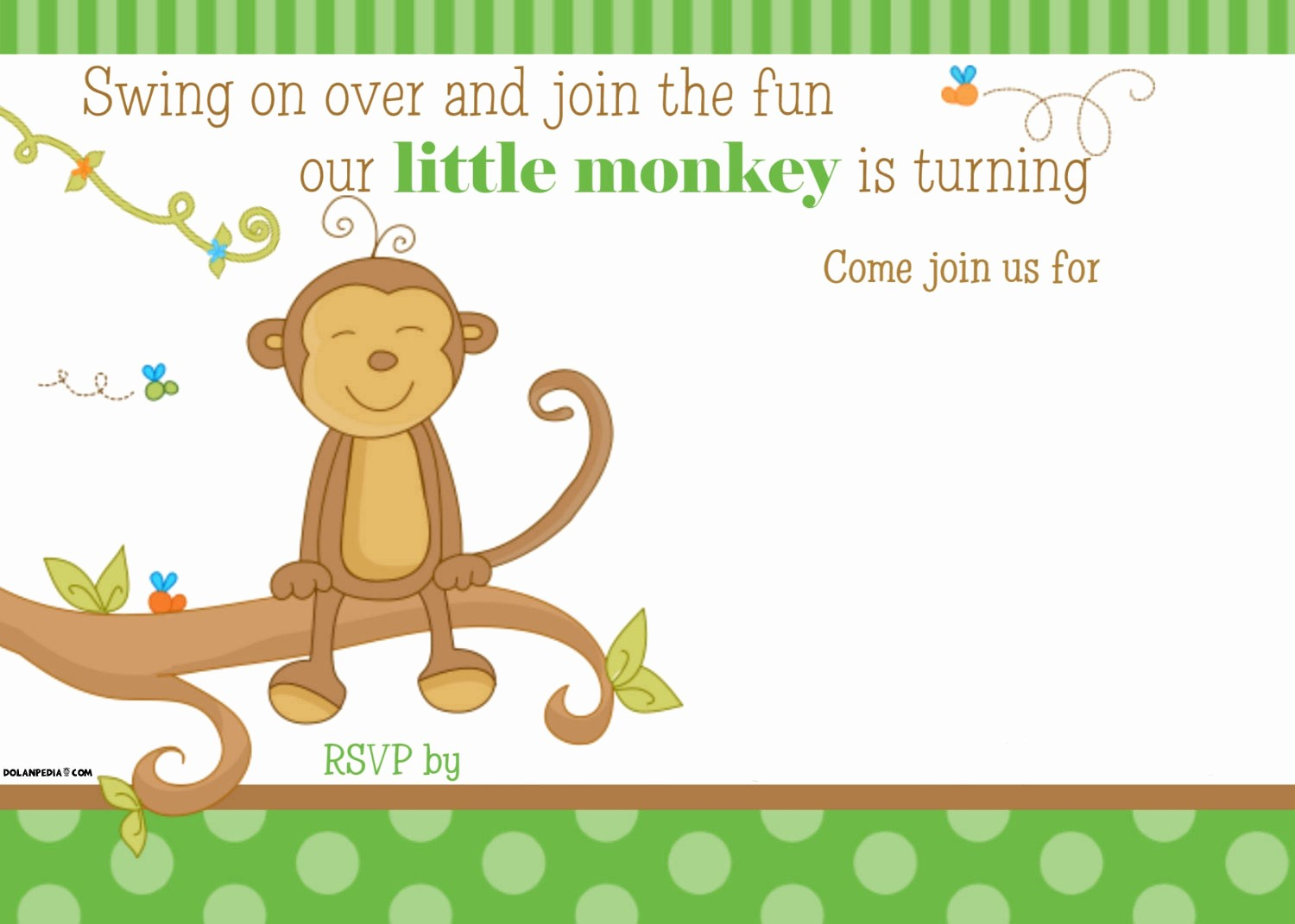 Free Templates for Birthday Invitations Awesome Free Printable Little Monkey Birthday Invitation Template