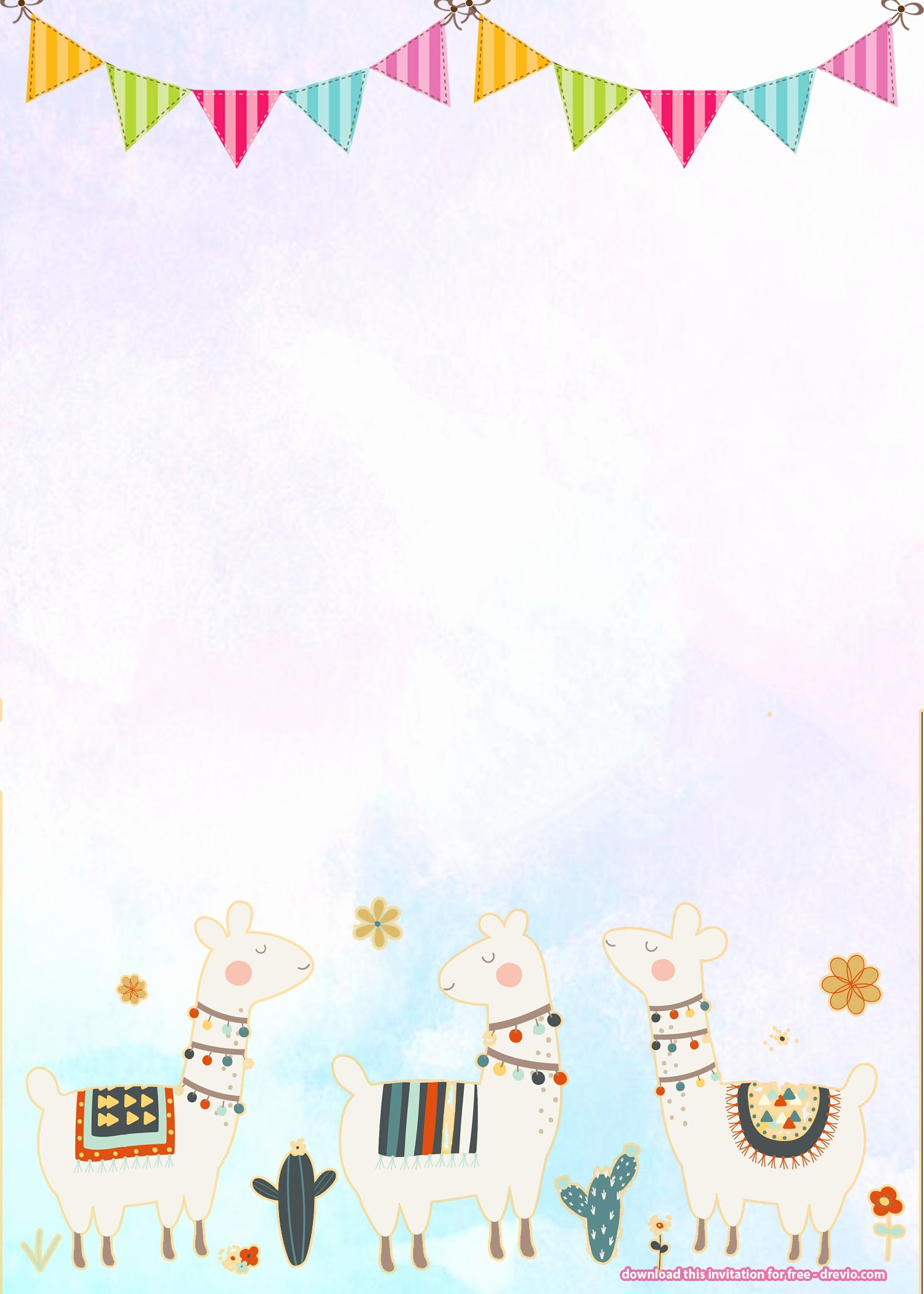 Free Templates for Birthday Invitations Elegant Free Llama Birthday Invitation Templates