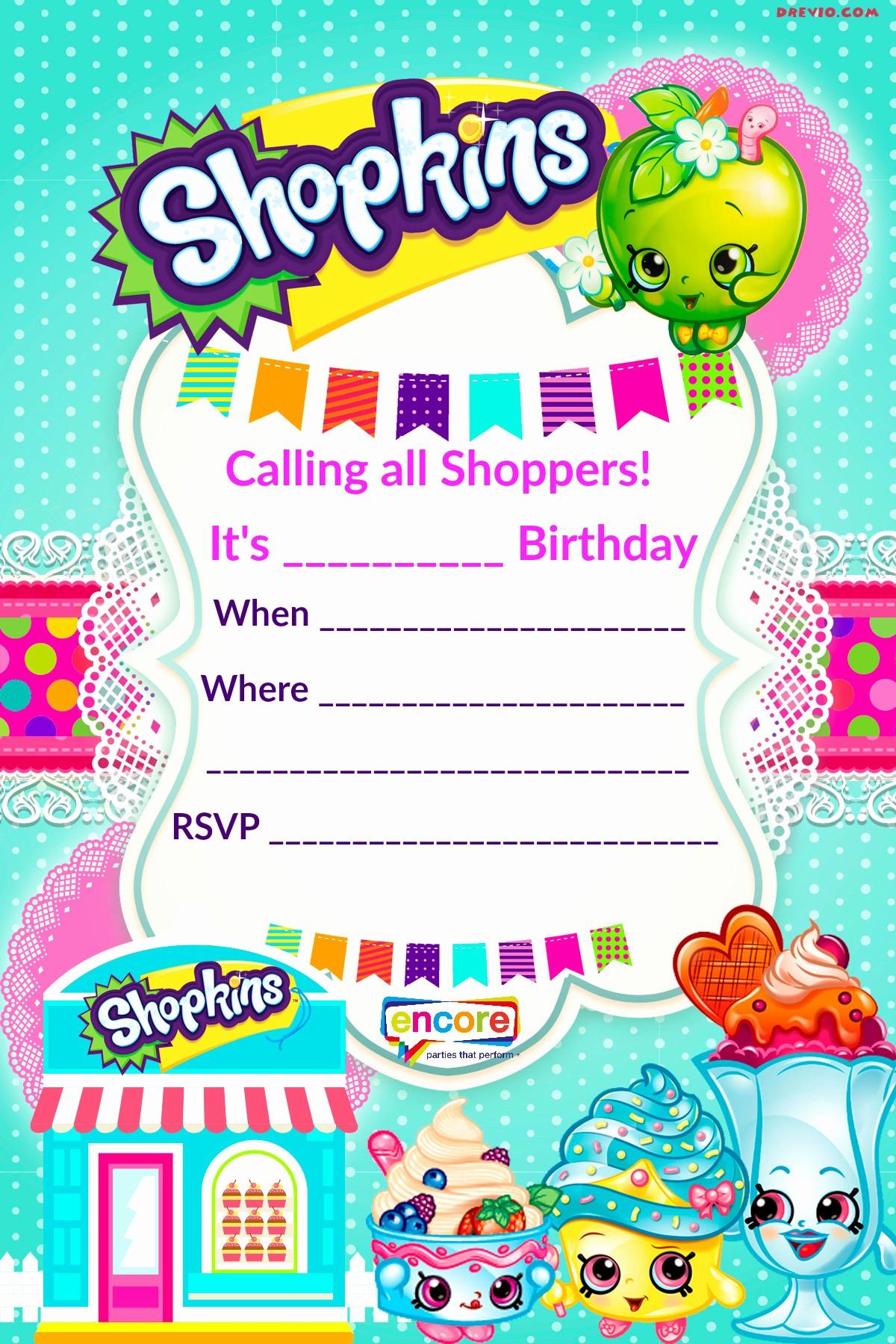 Free Templates for Birthday Invitations Elegant Updated – Free Printable Shopkins Birthday Invitation