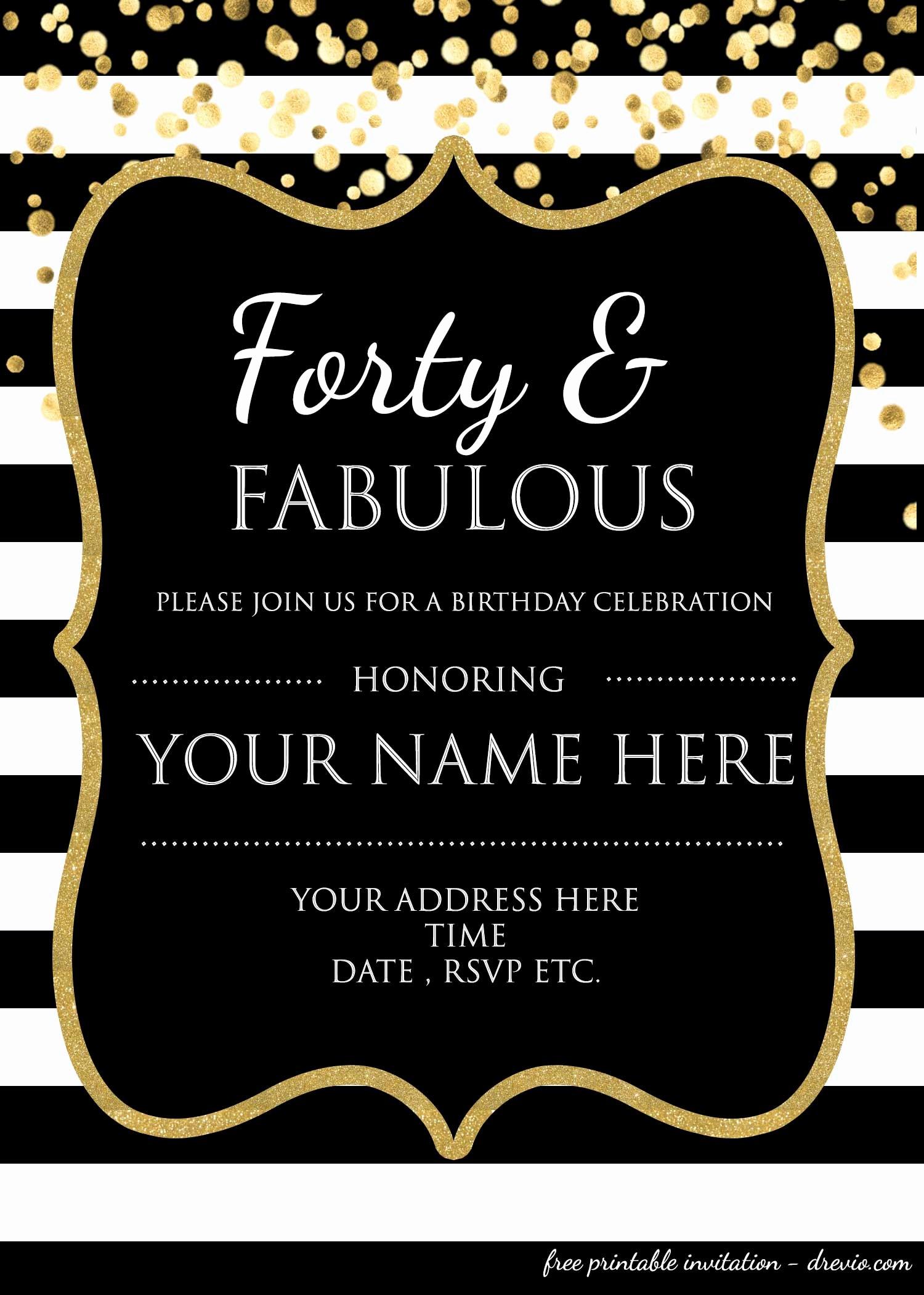 Free Templates for Birthday Invitations Fresh 40th Birthday Invitation Template – Free – Free Printable