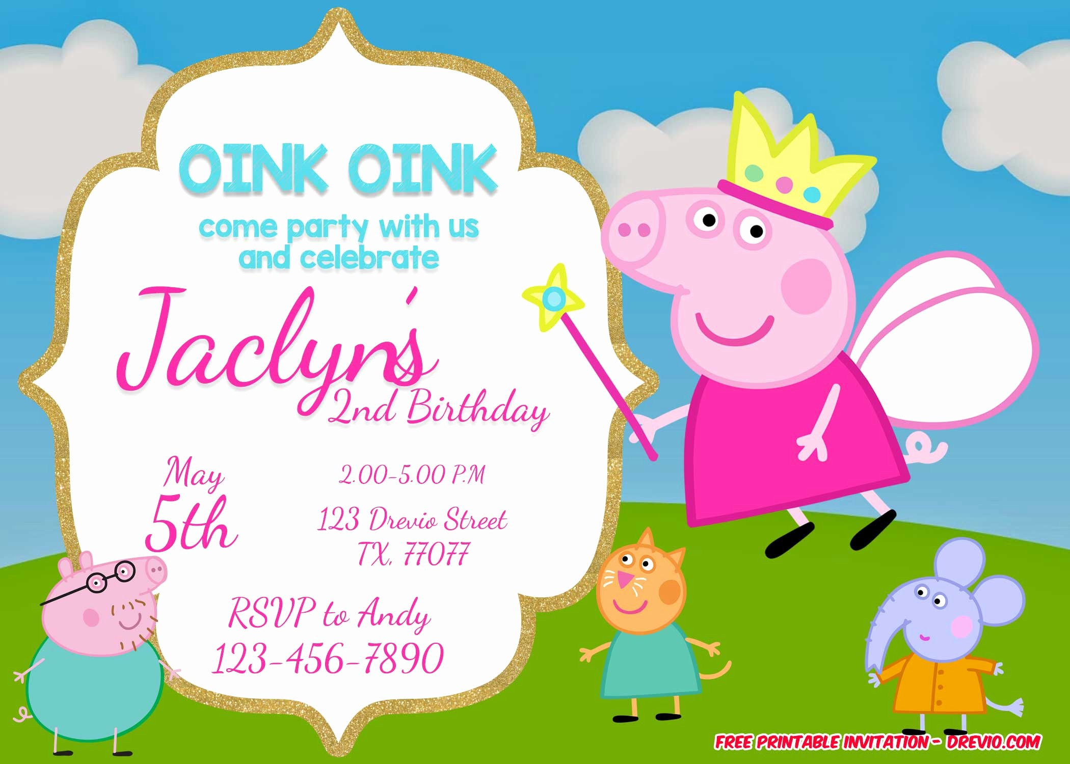 Free Templates for Birthday Invitations Fresh Free Printable Peppa Pig Invitation Birthday Templates