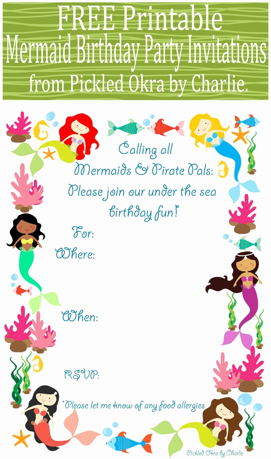 Free Templates for Birthday Invitations Fresh Mermaid Birthday Invitations Free Printable