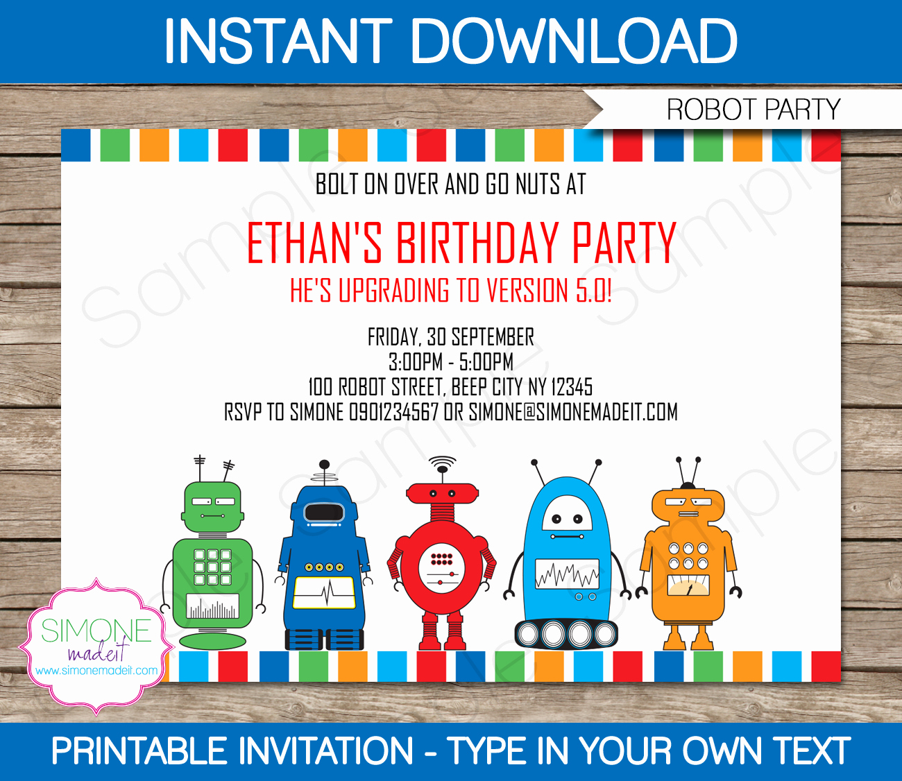 Free Templates for Birthday Invitations Fresh Robot Party Invitations Template